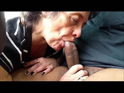 Amateur Granny Sucking BBC In The Car