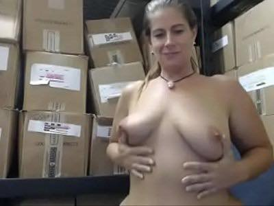 Perverted Woman Exposes Her Naked Body At Work